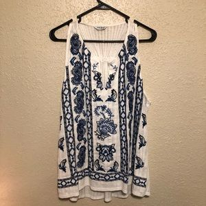 Blue Embroidered Lucky Brand Top